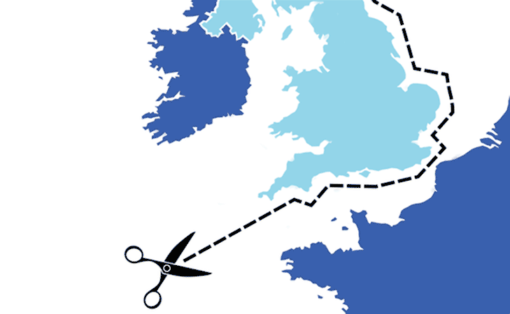 An image showing the UK being split from Europe due to Brexit