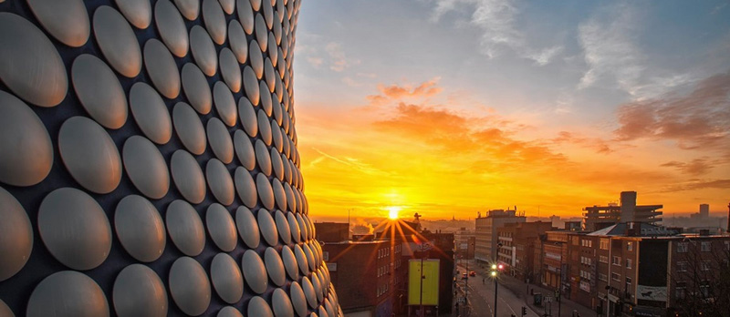 A stunning photograph of the Birmingham Bullring and Skyline