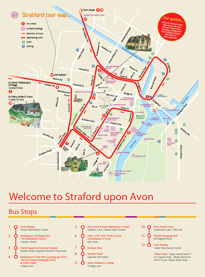 City Sightseeing Stratford-upon-Avon Map